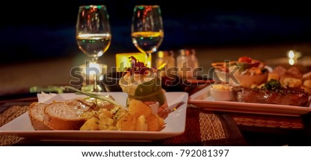 Romantic dinner on the beach, escape from reality. #792081397
