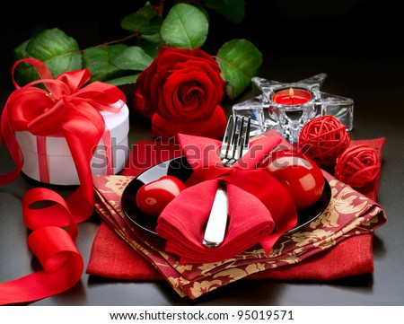 Romantic Dinner.Place setting for Valentine's Day