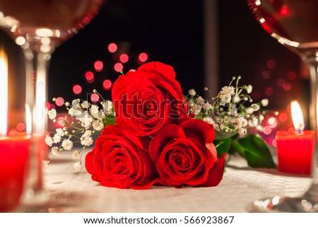 Romantic dinner setting.