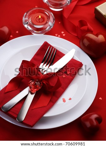 Romantic Dinner.Table Place Setting For Valentine'S Day Stock ...