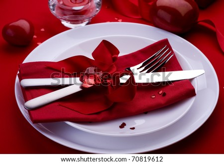 Romantic Dinner.Table Setting Place For Valentine'S Day Stock ...