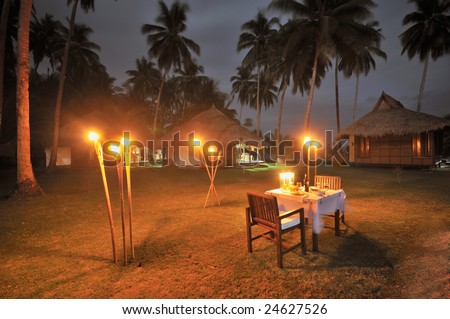Romantic Dinner under Candle Light and Palms