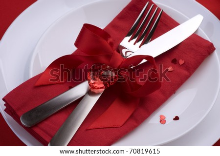 Romantic Dinner.Wedding Or Valentine'S Day Table Setting Place ...
