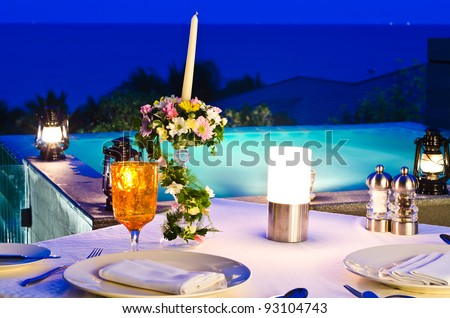 romantic dinner with jaccuzi