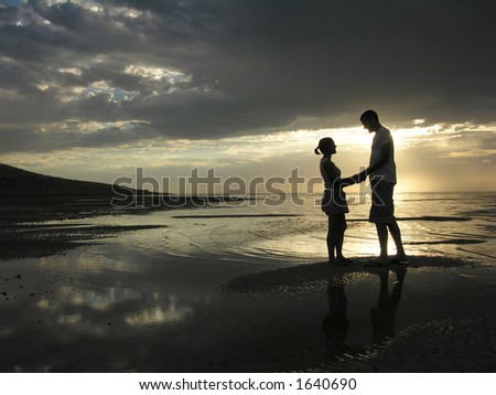 Romantic evening scene at the beach.