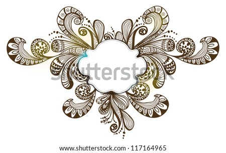 Romantic floral background with label, illustration for Valentine design