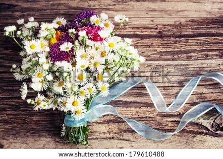 Romantic Flower Background With Field On Wooden Spring Or Summer Floral
