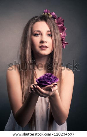 romantic girl with a flower