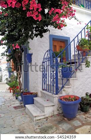romantic greek lane - stock photo