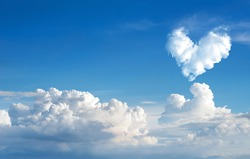 romantic Heart Cloud abstract blue sky and cloud nature background.