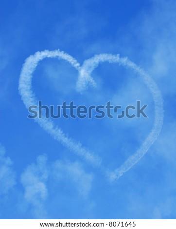 Romantic Heart Skywriting in Sky
