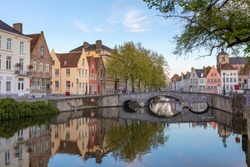 Romantic houses along the river canal in the old city of Middle Europe