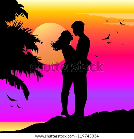 Romantic illustration with lovers