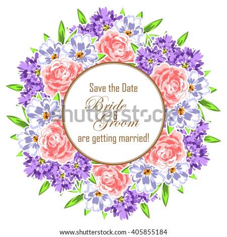 Romantic invitation. Wedding, marriage, bridal, birthday, Valentine's day.  #405855184