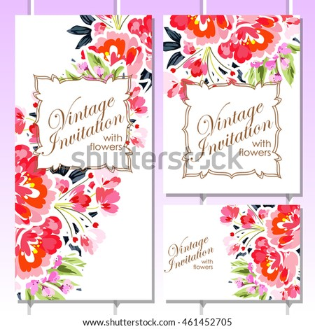 Romantic invitation. Wedding, marriage, bridal, birthday, Valentine's day. #461452705