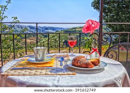 romantic italian breakfast  #391652749