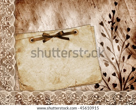 Romantic letter on the abstract background in scrapbooking style.