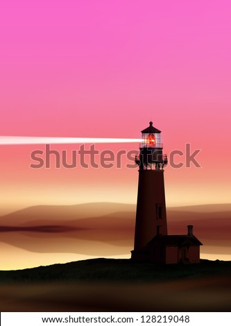 romantic lighthouse near Atlantic seaboard shining at night
