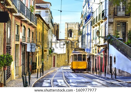 romantic lisbon street with the ...
