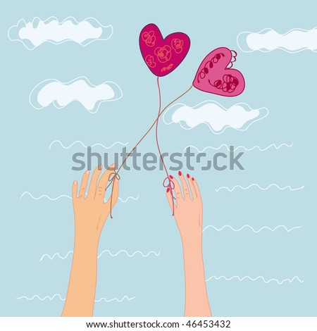 Romantic love card illustration