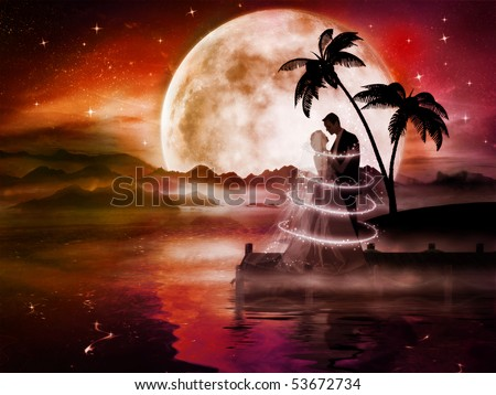 Romantic love couple in dreamland with big moon