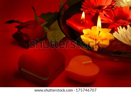 """Romantic love message """"i love you"""" with written candle"""