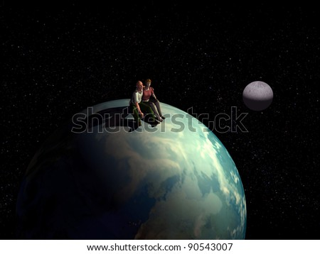 romantic Lovers, couple sitting on the earth globe and look at  the stars and the cosmos - stock photo