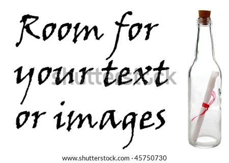 Romantic message in a bottle, isolated on white, with room for your text or images. perfect for valentines day
