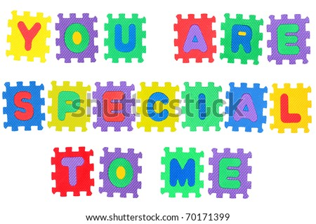 Romantic message, You are special to me, from letter puzzle, isolated on white.