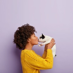 Romantic moment. Curly haired dark skinned female dog owner enjoys kiss with adorable pet, raises french bulldog, falls in love with it, stands in profile. Tender feeling between woman and puppy.