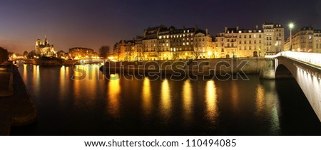 romantic night scene at paris stock photo 110494085