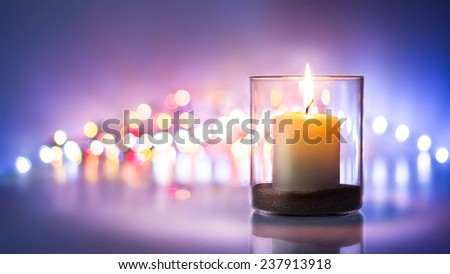 Romantic night with candlelight and bokeh background - Shutterstock ID 237913918