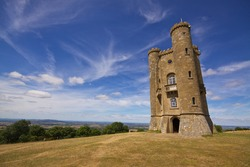 Romantic old Broadway Tower in Cotswolds, England