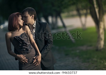 Romantic photo of a hugging couple