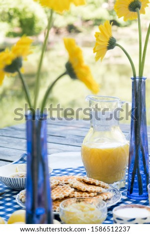 Romantic picnic for two. Luxury table setting in blue, gold cutlery, ceramic plates, a checkered tablecloth, waffle dessert, orange juice and fruit, a cup of coffee. Yellow marigold flowers in a vase. Foto stock ©