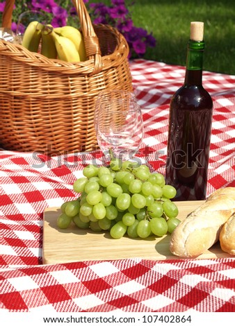 Romantic picnic in the park for two people - stock photo