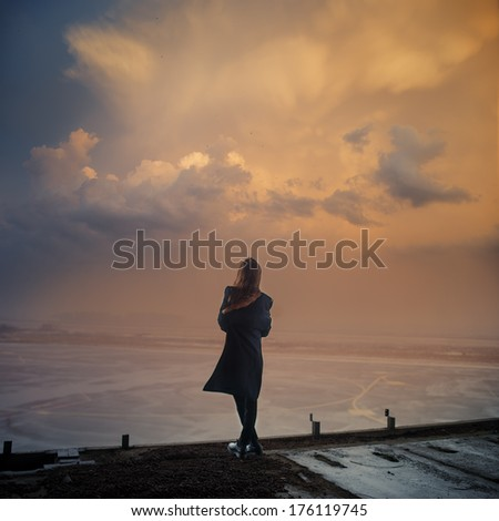 romantic picture gothic girl at sunset
