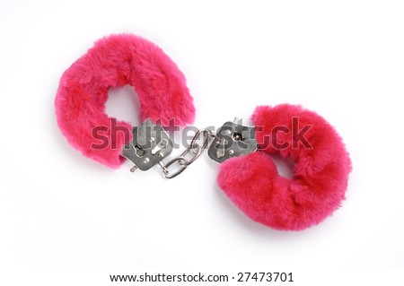 Romantic pink handcuffs isolated on white background