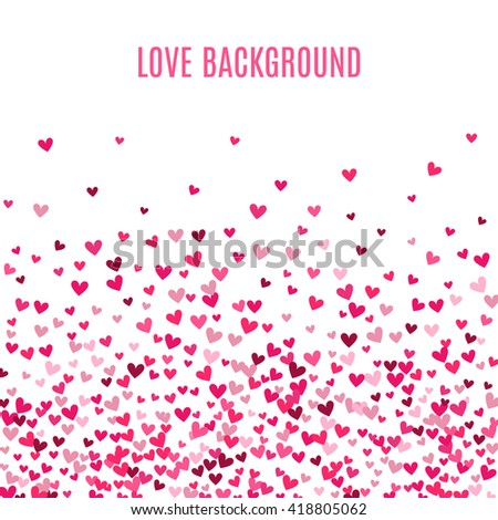 Romantic pink heart background. illustration for holiday design. Many flying hearts on white background. For wedding card, valentine day greetings, lovely frame.