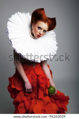 Romantic portrait of red hair Woman with white Jabot and red bright Dress. Creative concept #96263039