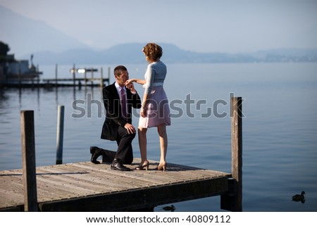 Romantic proposing on pier, full frame shot #40809112