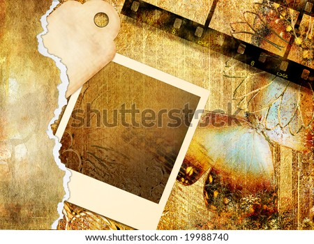 romantic retro background with instant frame and butterfly - stock photo