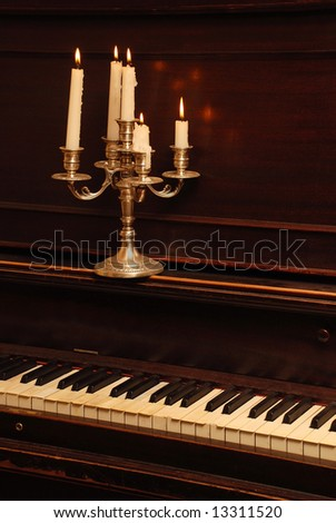Romantic Retro Wood Piano In The Candle Lighting