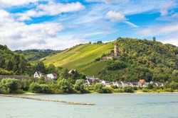 Romantic Rhine valley is a winemaking area in a beautiful summer day, Germany
