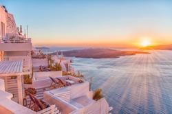 Romantic Santorini island during sunset, Greece, Europe. Summer concept.