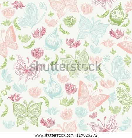 Romantic seamless pattern with butterflies