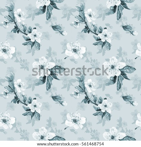 Romantic seamless pattern with watercolor cherry flowers. Retro style