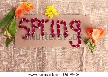 Romantic spring letters made of pink petals, on sackcloth background