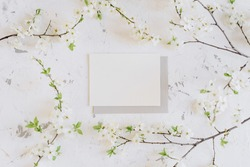 Romantic spring mock up with white card and envelope and blooming branches