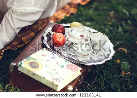 Romantic still life in nature. Cups, fruit, book and bag.